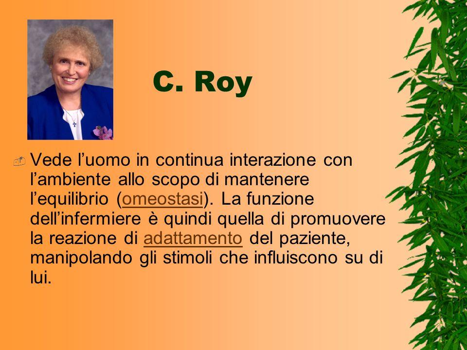 C. Roy Vede luomo in continua interazione con lambiente allo scopo di mantenere lequilibrio (omeostasi). La funzione dellinfermiere è quindi quella di