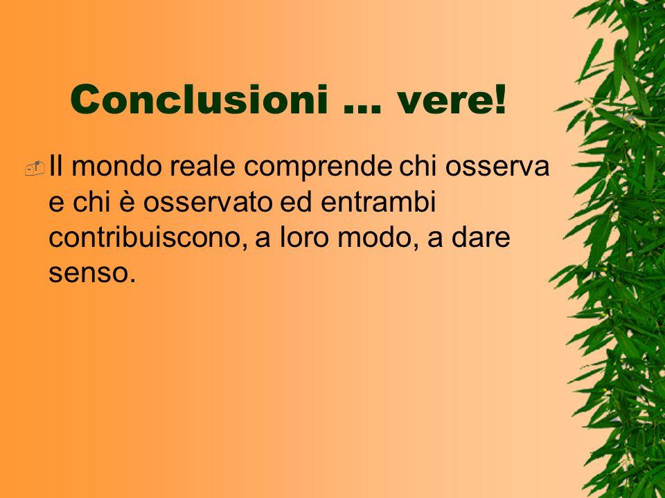 Conclusioni … vere! Il mondo reale comprende chi osserva e chi è osservato ed entrambi contribuiscono, a loro modo, a dare senso.