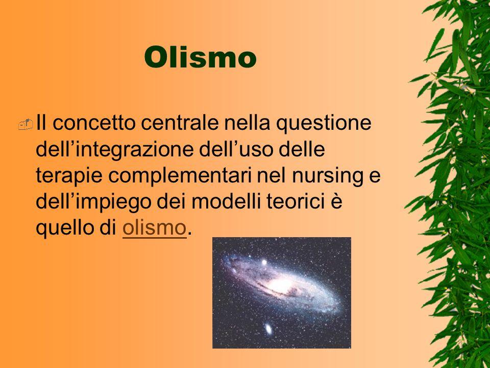 Nursing olistico Significa offrire unampia gamma di interventi al paziente quali il massaggio, la terapia rilassante, la meditazione, la riflessologia e lagopuntura (Newbeck e Rowe 1986).