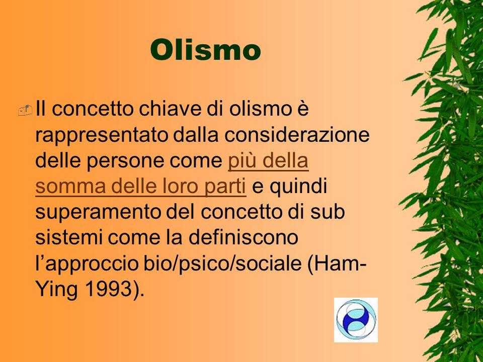 Il concetto chiave di olismo è rappresentato dalla considerazione delle persone come più della somma delle loro parti e quindi superamento del concett