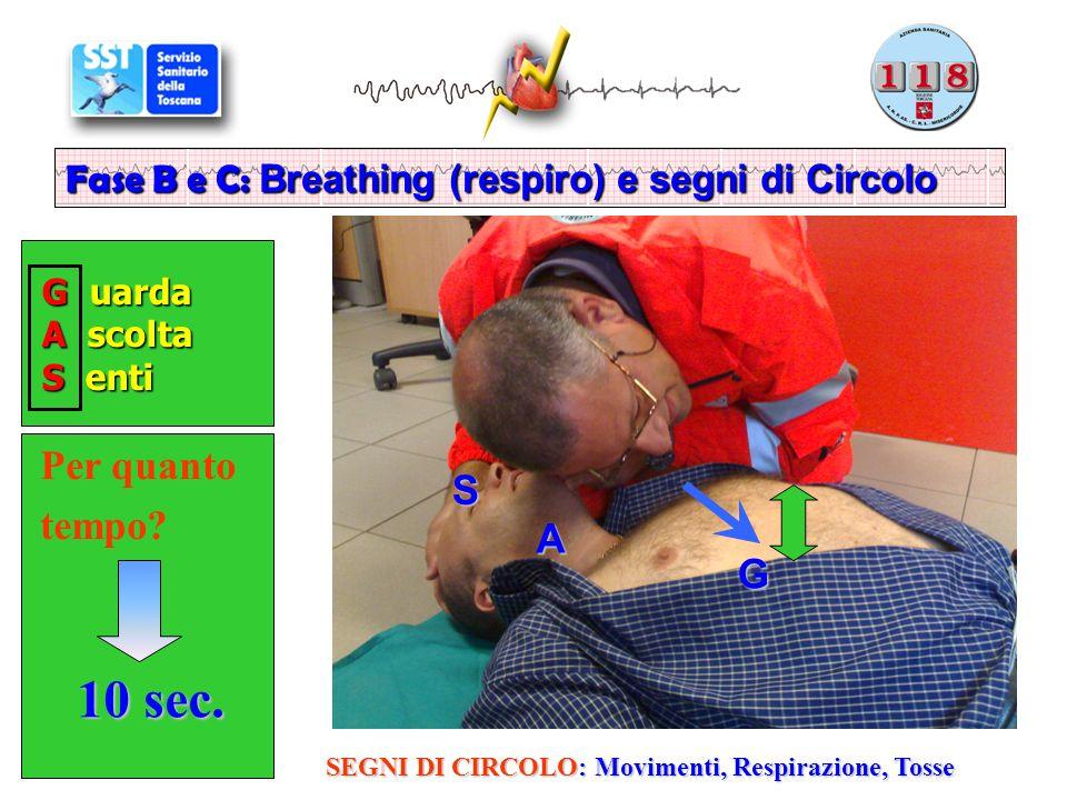 G uarda G uarda A scolta A scolta S enti S enti Fase B e C: Breathing (respiro) e segni di Circolo Per quanto tempo.