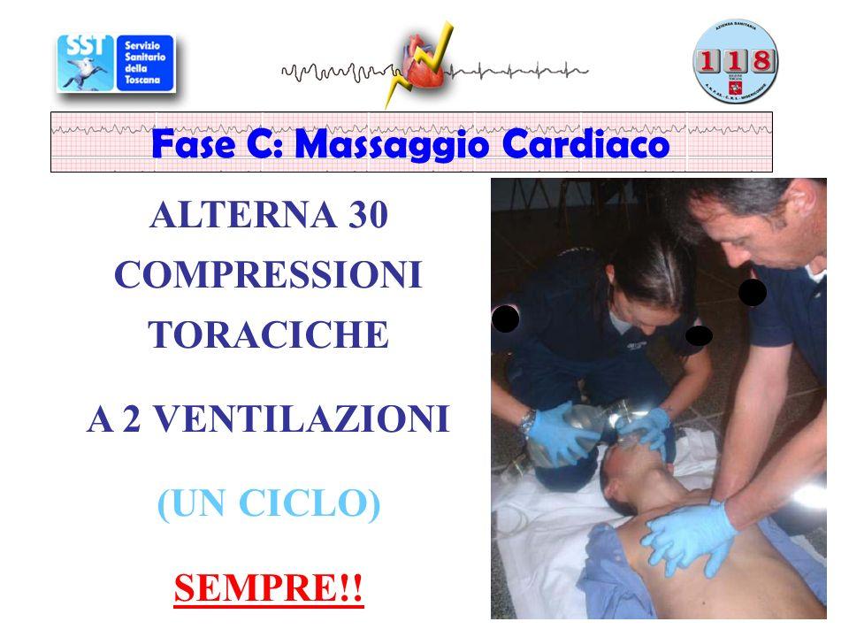 ALTERNA 30 COMPRESSIONI TORACICHE A 2 VENTILAZIONI (UN CICLO) SEMPRE!! Fase C: Massaggio Cardiaco