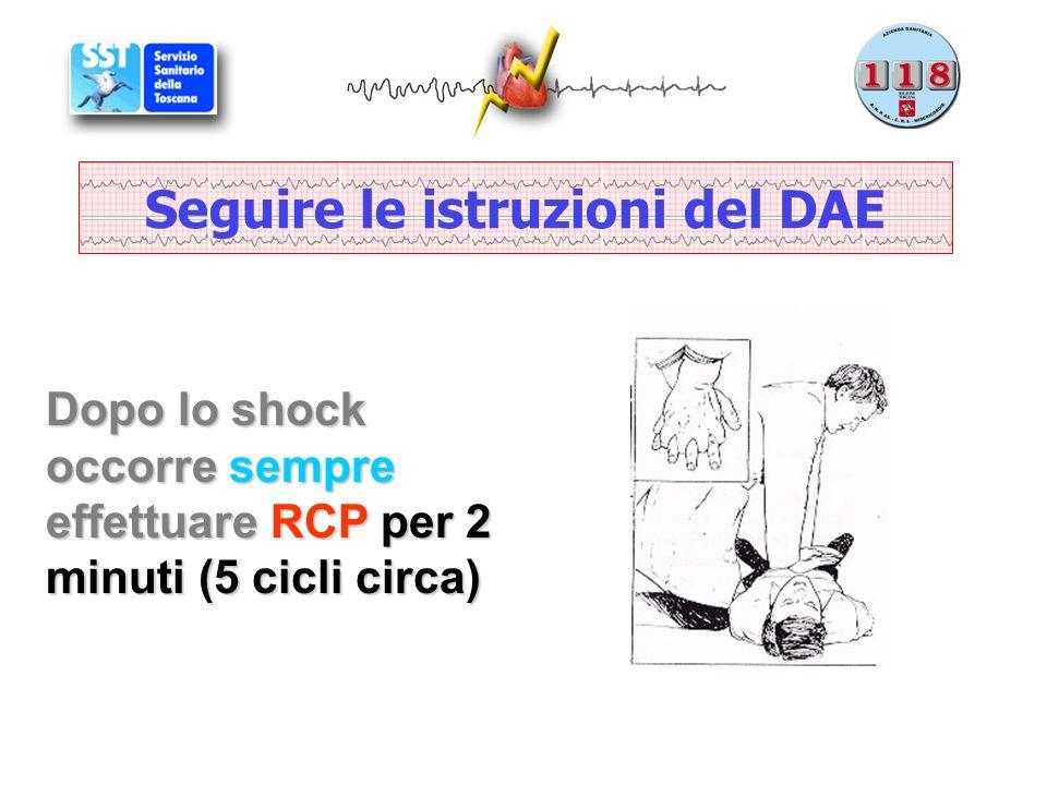 Seguire le istruzioni del DAE Dopo lo shock occorre sempre effettuare RCP per 2 minuti (5 cicli circa)