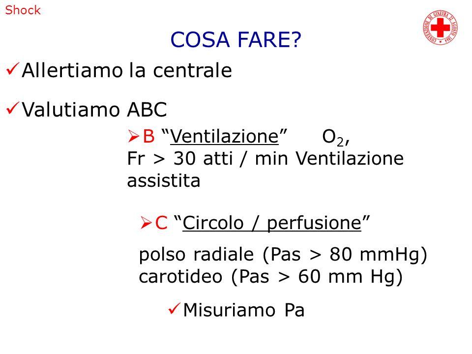 COSA FARE? Allertiamo la centrale Valutiamo ABC B Ventilazione O 2, Fr > 30 atti / min Ventilazione assistita C Circolo / perfusione polso radiale (Pa