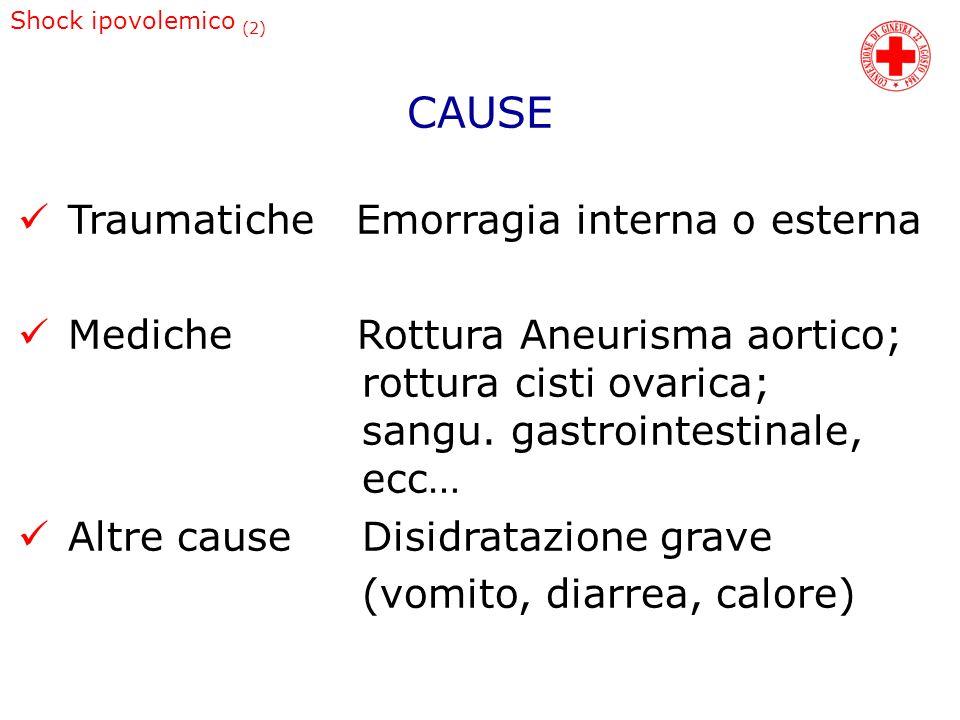 Shock ipovolemico (2) Traumatiche Emorragia interna o esterna Mediche Rottura Aneurisma aortico; rottura cisti ovarica; sangu. gastrointestinale, ecc…