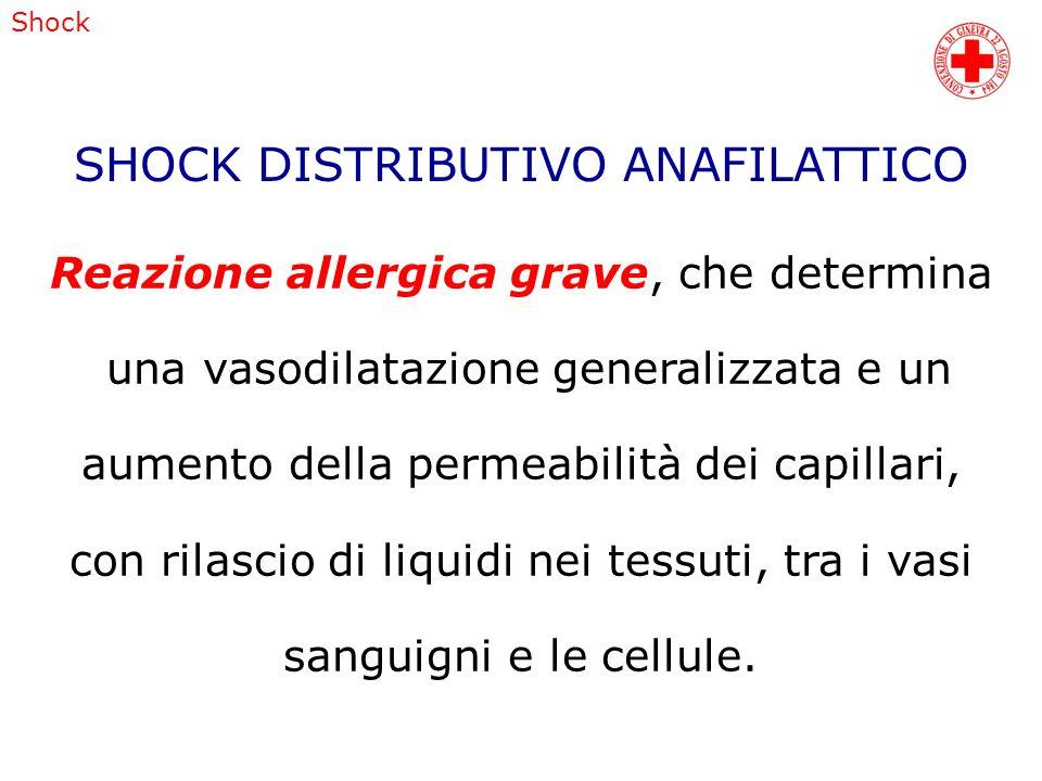 Shock Reazione allergica grave, che determina una vasodilatazione generalizzata e un aumento della permeabilità dei capillari, con rilascio di liquidi