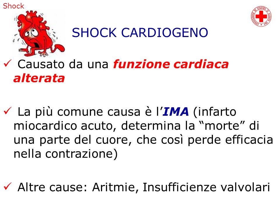 Shock Causato da una funzione cardiaca alterata La più comune causa è lIMA (infarto miocardico acuto, determina la morte di una parte del cuore, che c