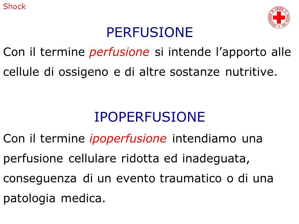 Shock Con il termine perfusione si intende lapporto alle cellule di ossigeno e di altre sostanze nutritive. Con il termine ipoperfusione intendiamo un
