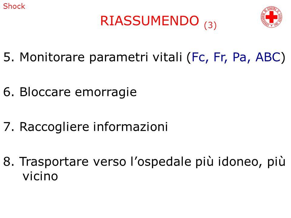 Shock 5. Monitorare parametri vitali (Fc, Fr, Pa, ABC) 6. Bloccare emorragie 7. Raccogliere informazioni 8. Trasportare verso lospedale più idoneo, pi