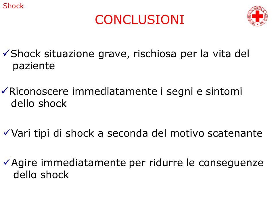 CONCLUSIONI Shock Shock situazione grave, rischiosa per la vita del paziente Riconoscere immediatamente i segni e sintomi dello shock Agire immediatam