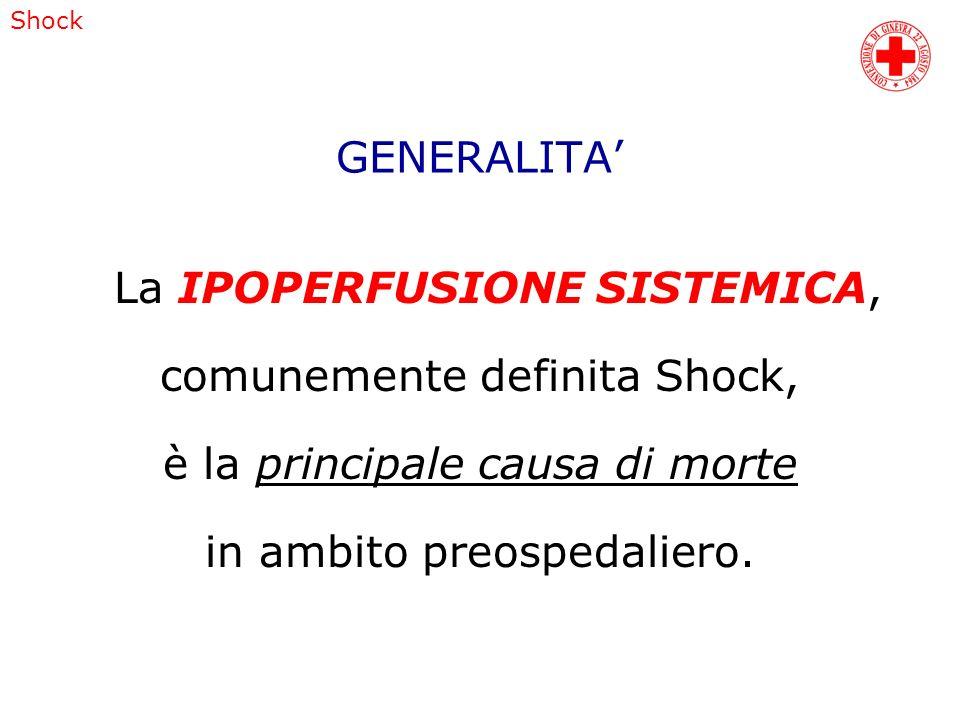 GENERALITA La IPOPERFUSIONE SISTEMICA, comunemente definita Shock, è la principale causa di morte in ambito preospedaliero. Shock