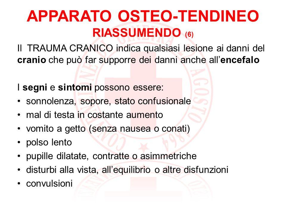 APPARATO OSTEO-TENDINEO RIASSUMENDO (7) Nel TRAUMA CRANICO Controlliamo lo stato di coscienza dellinfortunato e le sue funzioni vitali.