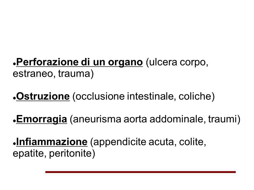 Perforazione di un organo (ulcera corpo, estraneo, trauma) Ostruzione (occlusione intestinale, coliche) Emorragia (aneurisma aorta addominale, traumi)