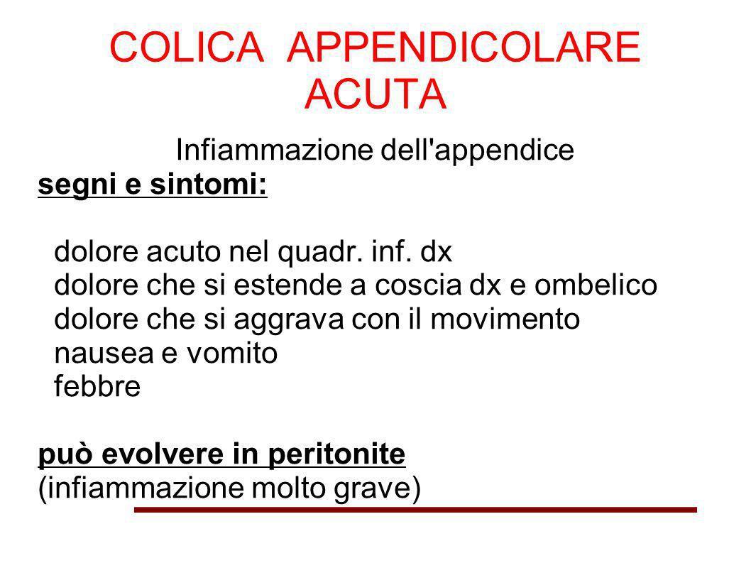 COLICA APPENDICOLARE ACUTA Infiammazione dell'appendice segni e sintomi: dolore acuto nel quadr. inf. dx dolore che si estende a coscia dx e ombelico