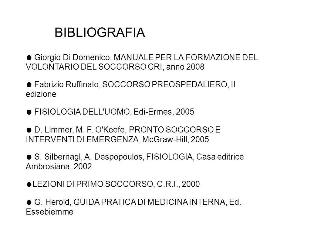 BIBLIOGRAFIA Giorgio Di Domenico, MANUALE PER LA FORMAZIONE DEL VOLONTARIO DEL SOCCORSO CRI, anno 2008 Fabrizio Ruffinato, SOCCORSO PREOSPEDALIERO, II