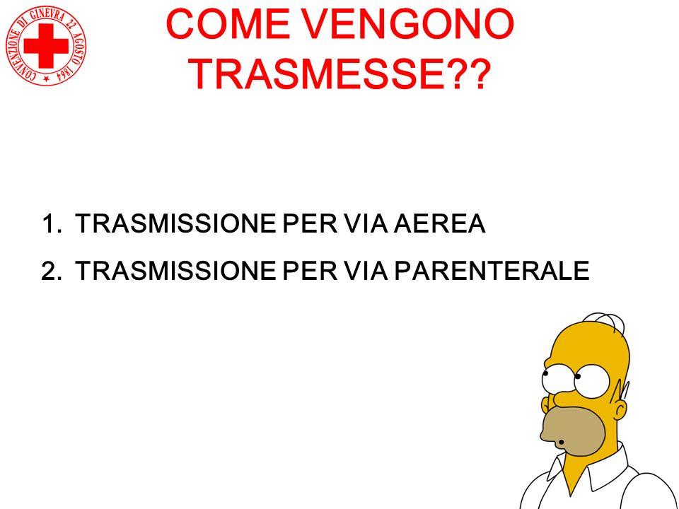COME VENGONO TRASMESSE?? 1.TRASMISSIONE PER VIA AEREA 2.TRASMISSIONE PER VIA PARENTERALE