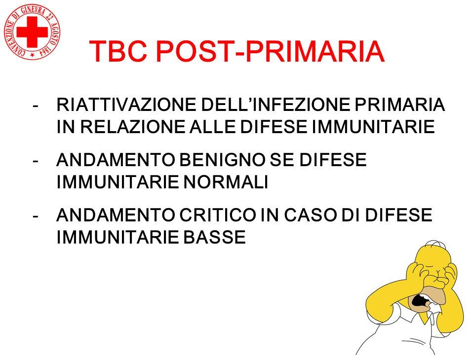 TBC POST-PRIMARIA -RIATTIVAZIONE DELLINFEZIONE PRIMARIA IN RELAZIONE ALLE DIFESE IMMUNITARIE -ANDAMENTO BENIGNO SE DIFESE IMMUNITARIE NORMALI -ANDAMEN