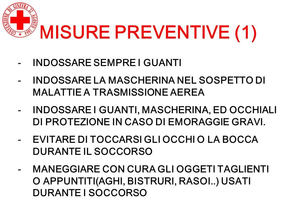 MISURE PREVENTIVE (1) -INDOSSARE SEMPRE I GUANTI -INDOSSARE LA MASCHERINA NEL SOSPETTO DI MALATTIE A TRASMISSIONE AEREA -INDOSSARE I GUANTI, MASCHERIN