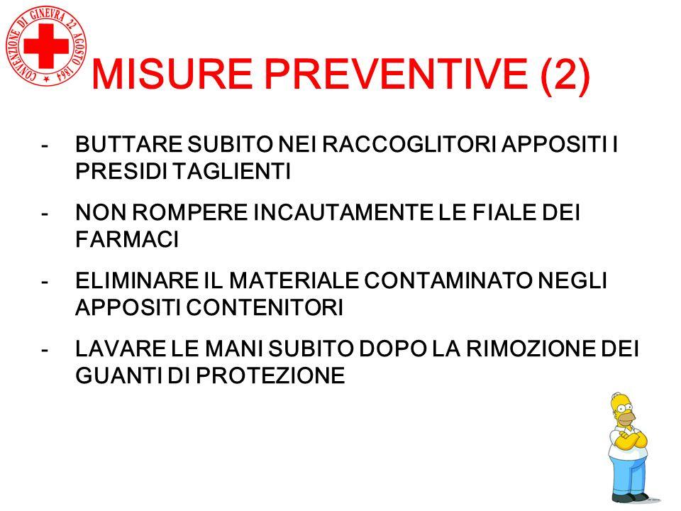 MISURE PREVENTIVE (2) -BUTTARE SUBITO NEI RACCOGLITORI APPOSITI I PRESIDI TAGLIENTI -NON ROMPERE INCAUTAMENTE LE FIALE DEI FARMACI -ELIMINARE IL MATER