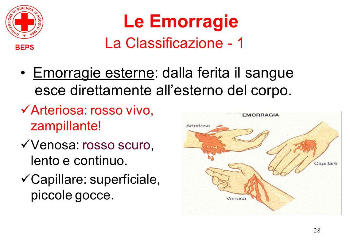 28 Emorragie esterne: dalla ferita il sangue esce direttamente allesterno del corpo. Arteriosa: rosso vivo, zampillante! Venosa: rosso scuro, lento e