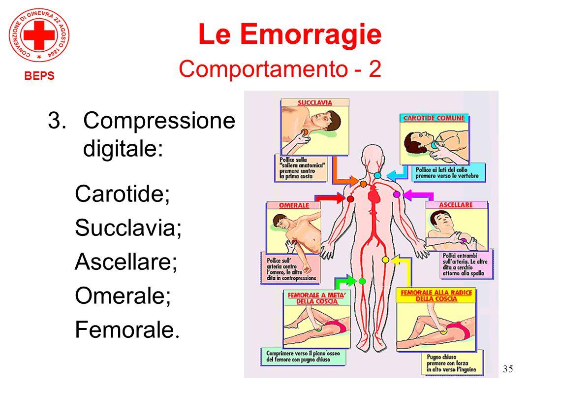 35 3.Compressione digitale: Carotide; Succlavia; Ascellare; Omerale; Femorale. BEPS Le Emorragie Comportamento - 2