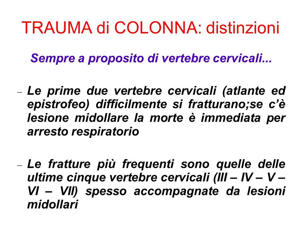 TRAUMA di COLONNA: distinzioni Sempre a proposito di vertebre cervicali... Le prime due vertebre cervicali (atlante ed epistrofeo) difficilmente si fr
