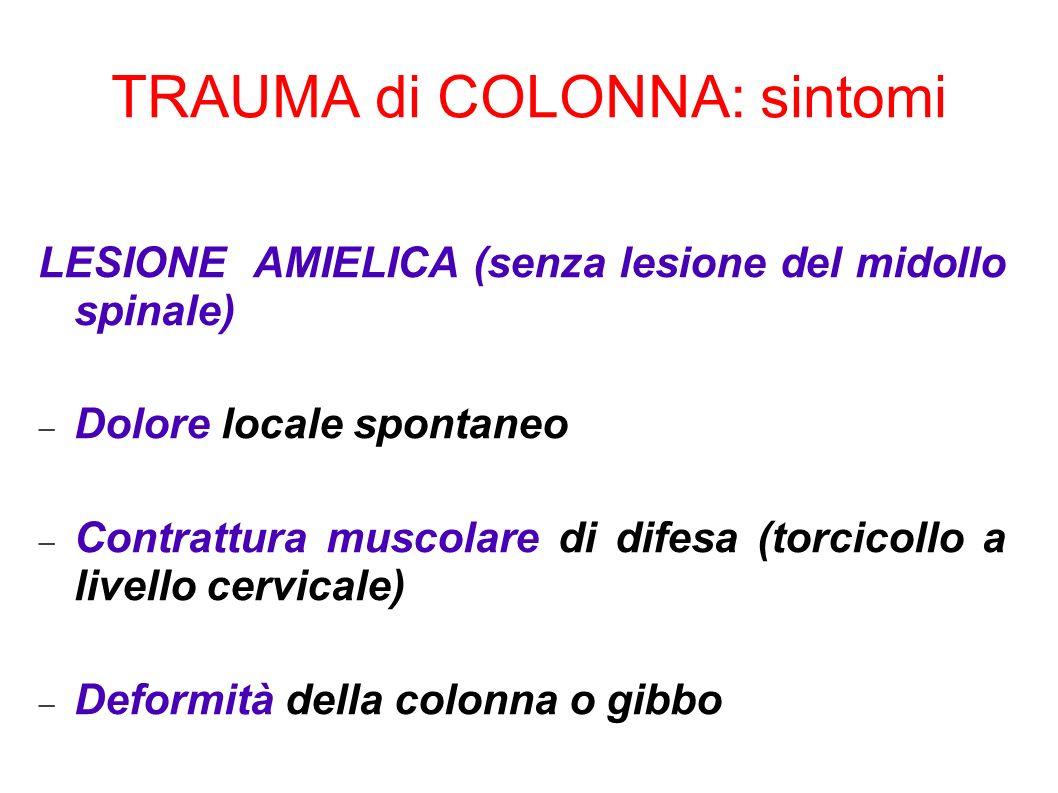 LESIONE AMIELICA (senza lesione del midollo spinale) Dolore locale spontaneo Contrattura muscolare di difesa (torcicollo a livello cervicale) Deformit