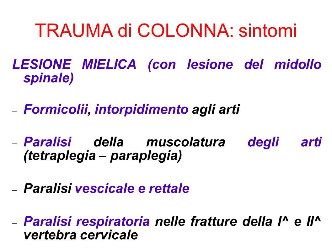 LESIONE MIELICA (con lesione del midollo spinale) Formicolii, intorpidimento agli arti Paralisi della muscolatura degli arti (tetraplegia – paraplegia