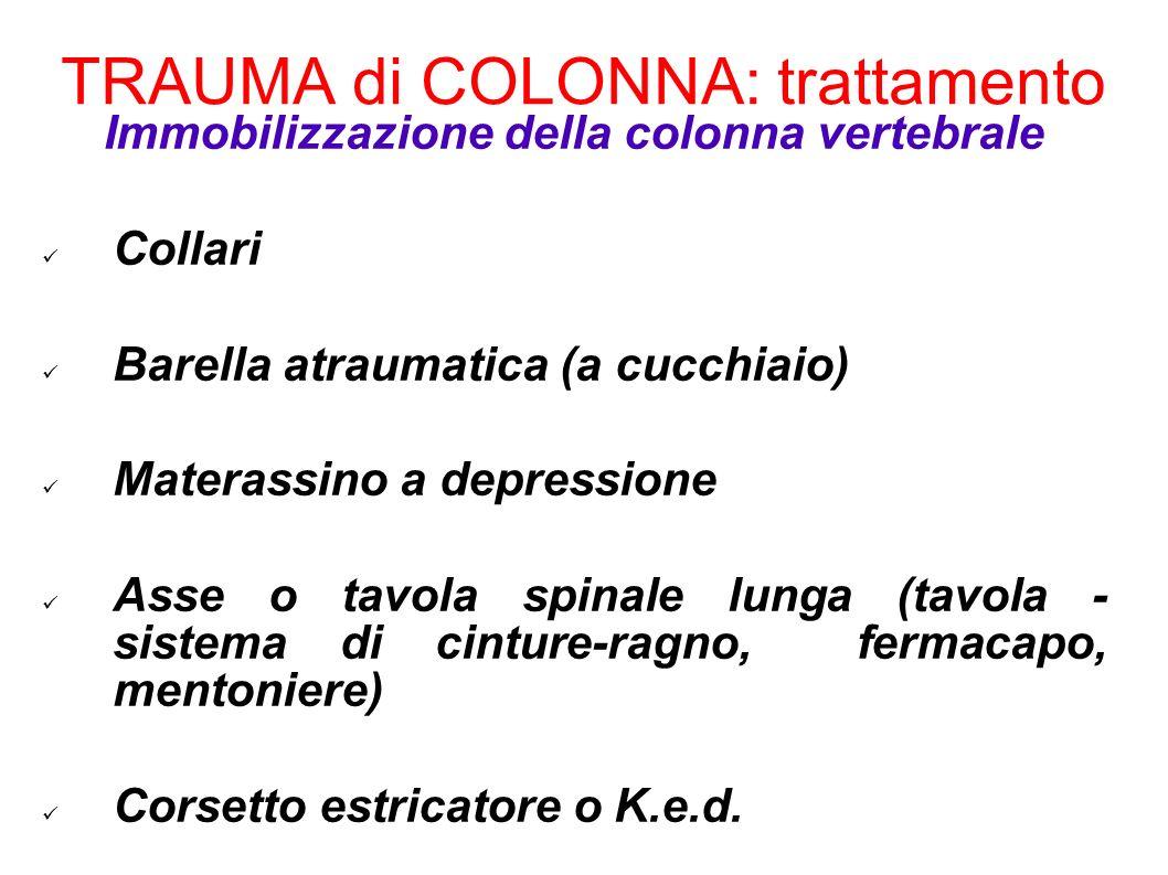 TRAUMA di COLONNA: trattamento Immobilizzazione della colonna vertebrale Collari Barella atraumatica (a cucchiaio) Materassino a depressione Asse o ta
