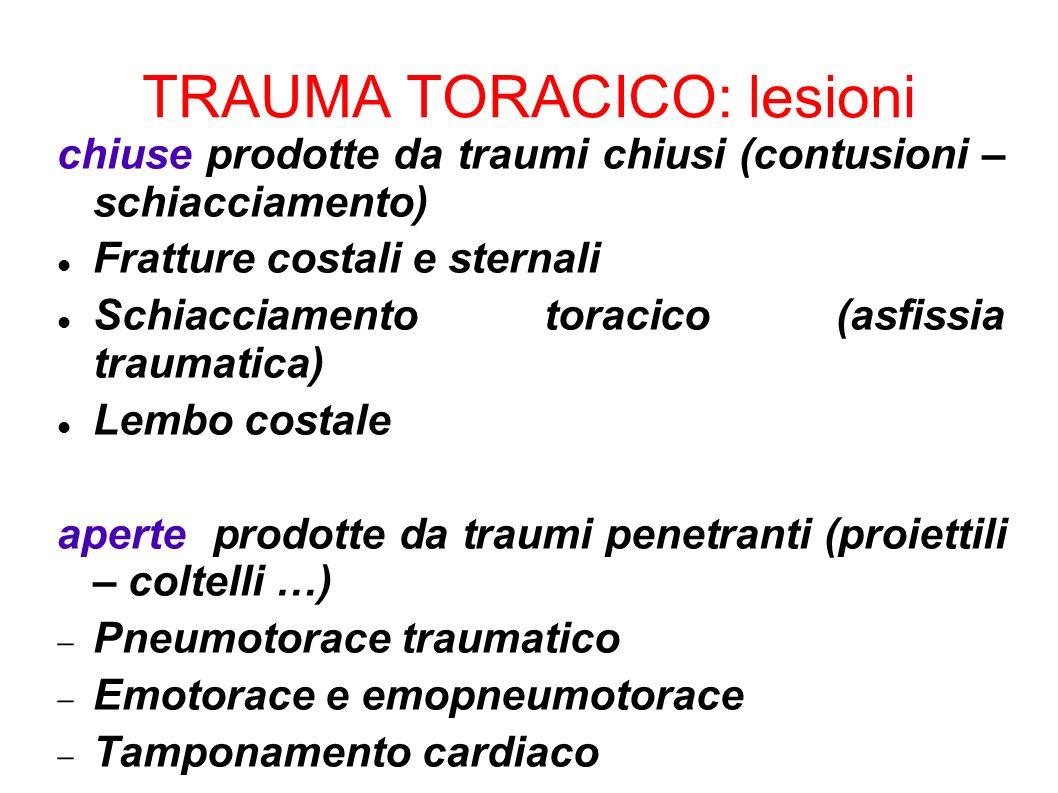 TRAUMA TORACICO: lesioni chiuse prodotte da traumi chiusi (contusioni – schiacciamento) Fratture costali e sternali Schiacciamento toracico (asfissia