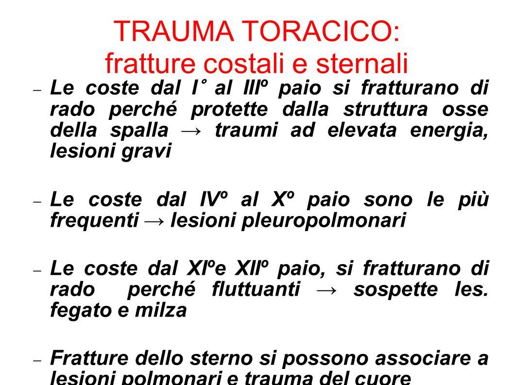TRAUMA TORACICO: fratture costali e sternali Le coste dal I° al IIIº paio si fratturano di rado perché protette dalla struttura osse della spalla trau
