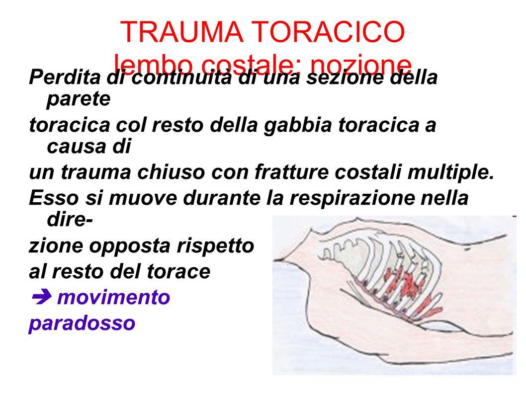 TRAUMA TORACICO lembo costale: nozione Perdita di continuità di una sezione della parete toracica col resto della gabbia toracica a causa di un trauma