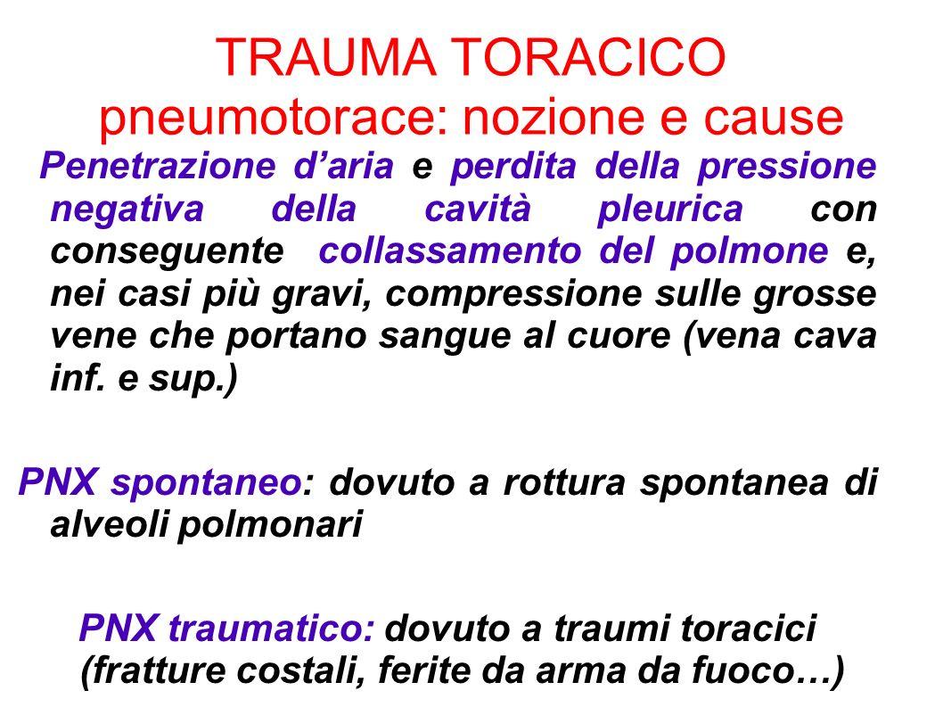 TRAUMA TORACICO pneumotorace: nozione e cause Penetrazione daria e perdita della pressione negativa della cavità pleurica con conseguente collassament