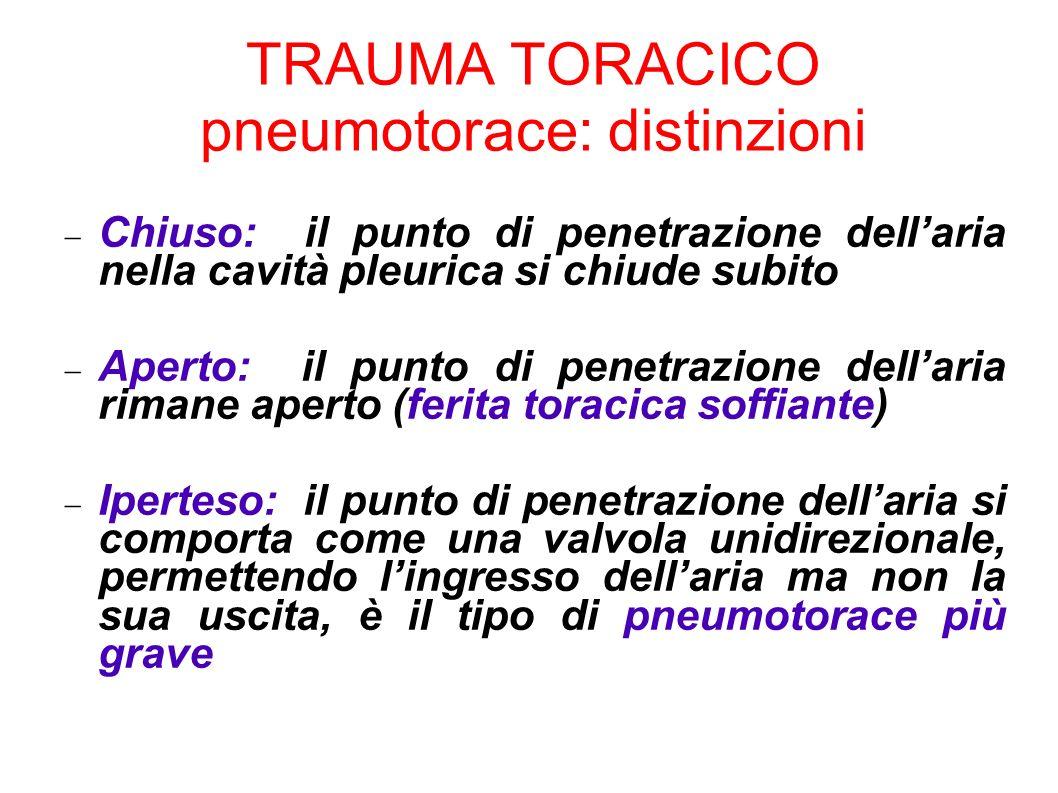 TRAUMA TORACICO pneumotorace: distinzioni Chiuso: il punto di penetrazione dellaria nella cavità pleurica si chiude subito Aperto: il punto di penetra