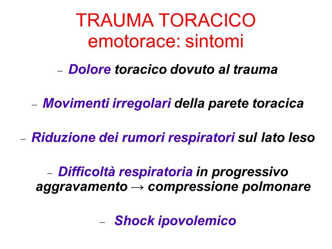 TRAUMA TORACICO emotorace: sintomi Dolore toracico dovuto al trauma Movimenti irregolari della parete toracica Riduzione dei rumori respiratori sul la