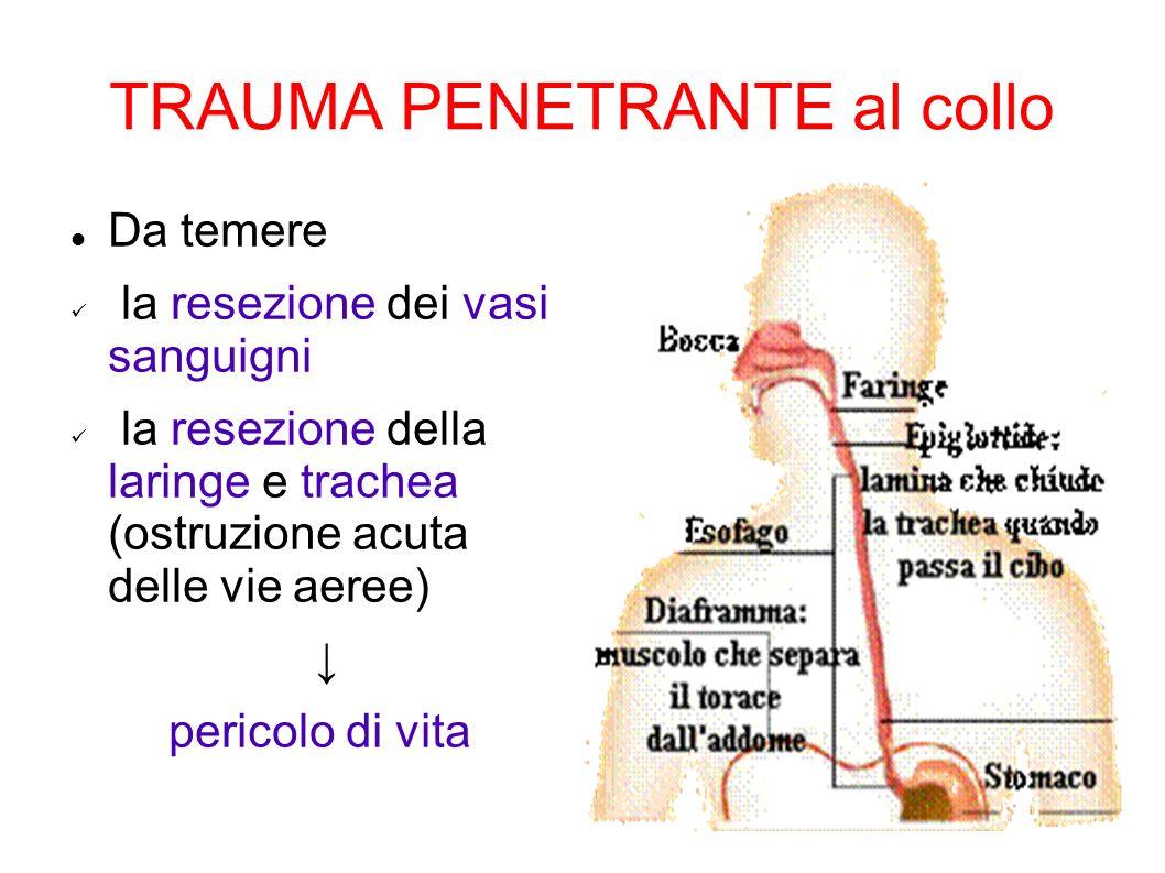 TRAUMA PENETRANTE al collo Da temere la resezione dei vasi sanguigni la resezione della laringe e trachea (ostruzione acuta delle vie aeree) pericolo