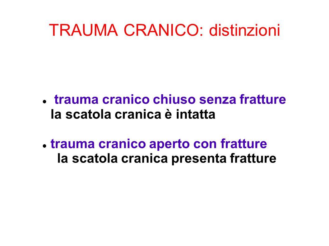 TRAUMA CRANICO: distinzioni trauma cranico chiuso senza fratture la scatola cranica è intatta trauma cranico aperto con fratture la scatola cranica pr
