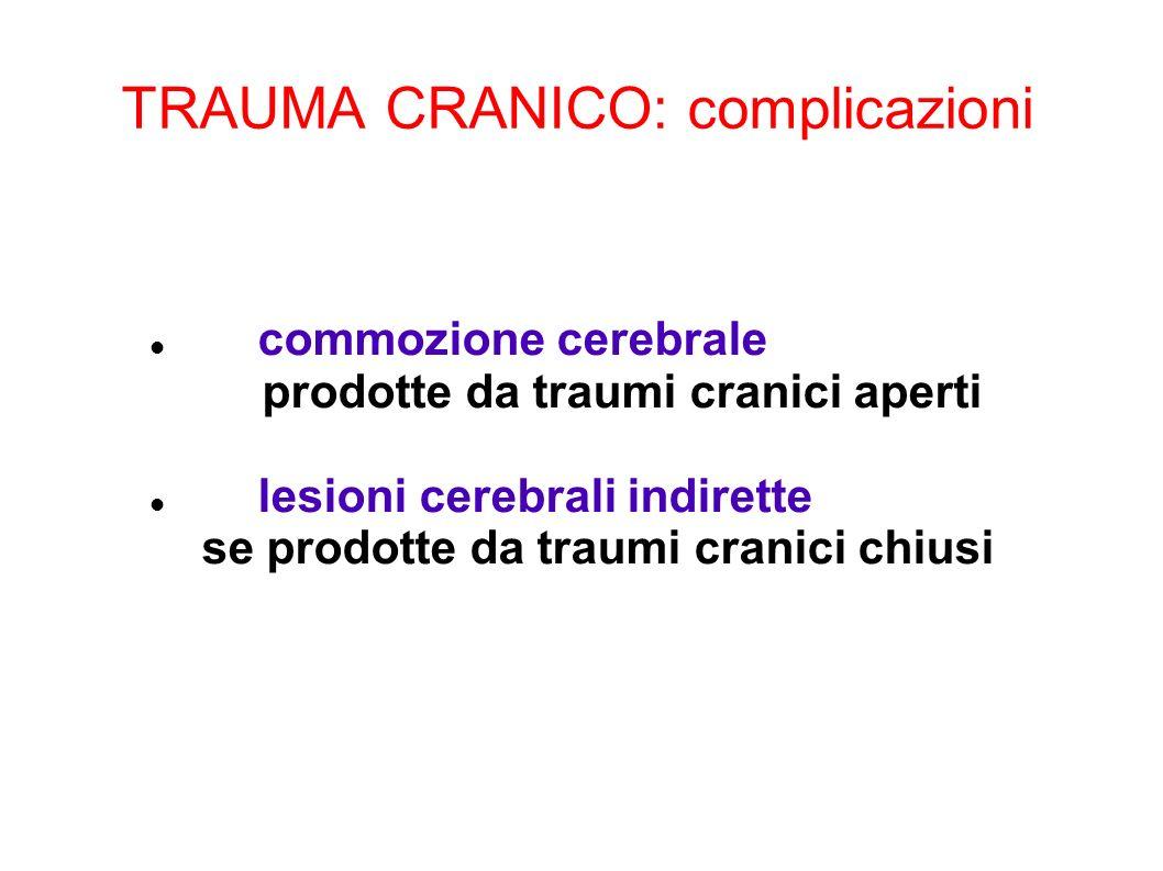 TRAUMA CRANICO: complicazioni commozione cerebrale prodotte da traumi cranici aperti lesioni cerebrali indirette se prodotte da traumi cranici chiusi