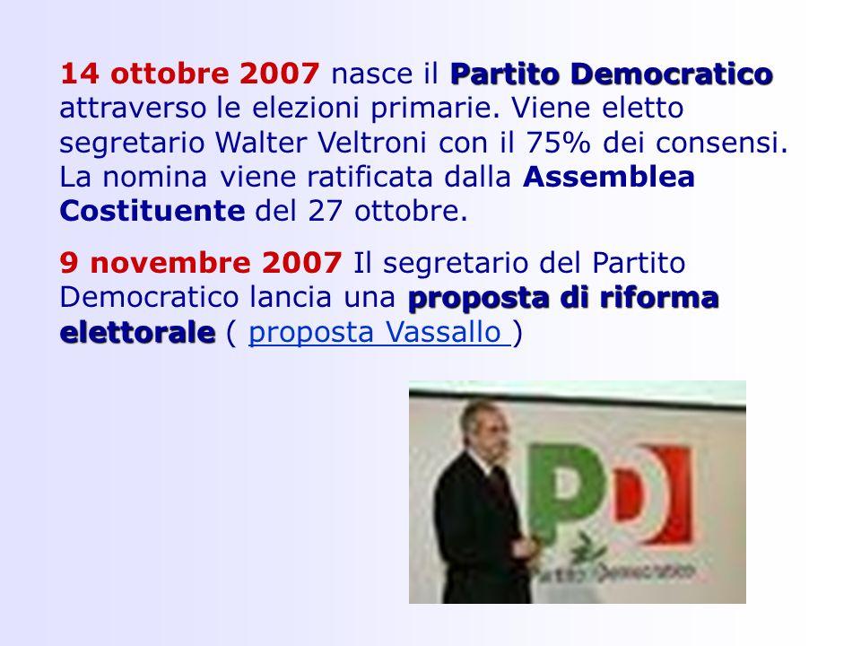 Partito Democratico 14 ottobre 2007 nasce il Partito Democratico attraverso le elezioni primarie.