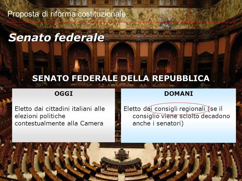 Proposta di riforma costituzionale FUNZIONI COSTITUZIONALI DI CAMERA E SENATO Fine del bicameralismo paritario OGGI Camera e Senato attività legislati