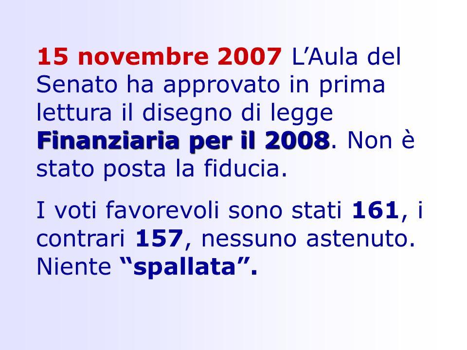 Finanziaria per il 2008 15 novembre 2007 LAula del Senato ha approvato in prima lettura il disegno di legge Finanziaria per il 2008.