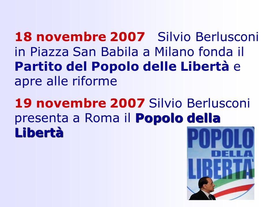 18 novembre 2007 Silvio Berlusconi in Piazza San Babila a Milano fonda il Partito del Popolo delle Libertà e apre alle riforme Popolo della Libertà 19 novembre 2007 Silvio Berlusconi presenta a Roma il Popolo della Libertà