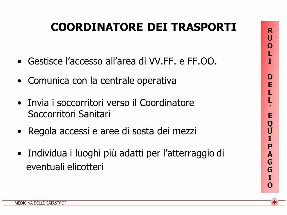 COORDINATORE DEI TRASPORTI Gestisce laccesso allarea di VV.FF. e FF.OO. Comunica con la centrale operativa Invia i soccorritori verso il Coordinatore