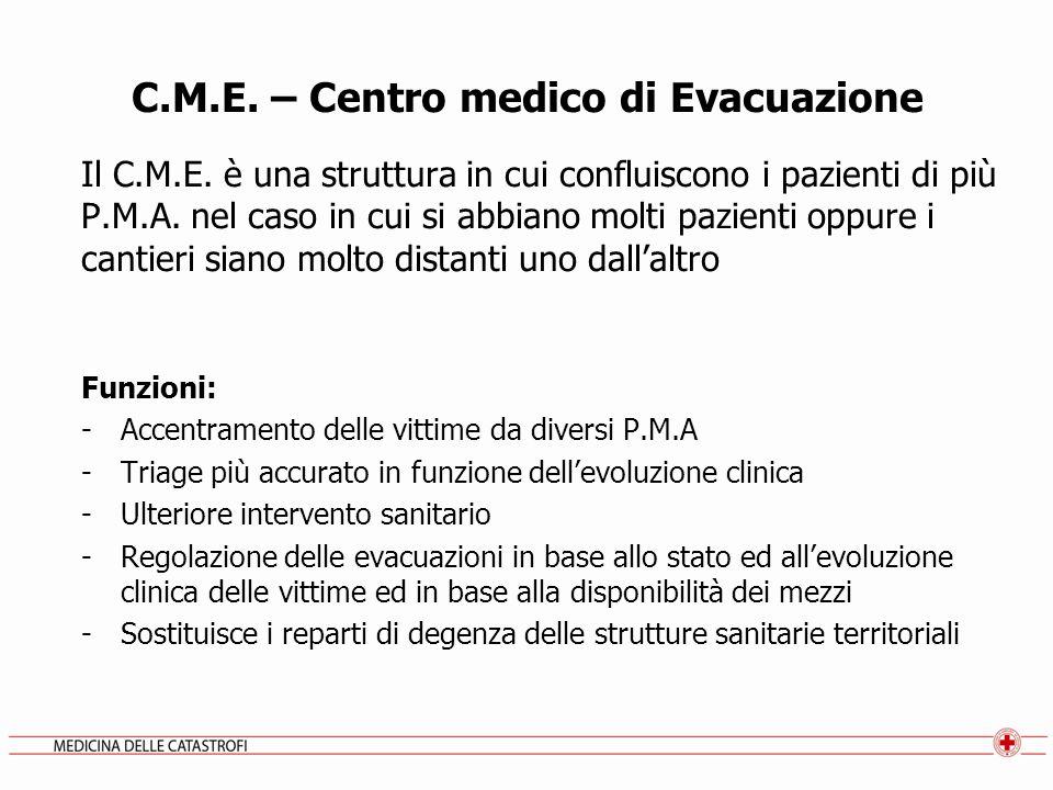 C.M.E. – Centro medico di Evacuazione Il C.M.E. è una struttura in cui confluiscono i pazienti di più P.M.A. nel caso in cui si abbiano molti pazienti