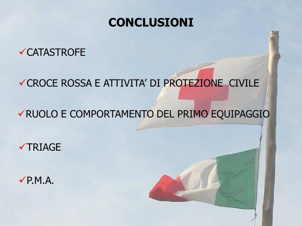 CATASTROFE CROCE ROSSA E ATTIVITA DI PROTEZIONE CIVILE RUOLO E COMPORTAMENTO DEL PRIMO EQUIPAGGIO TRIAGE P.M.A. CONCLUSIONI