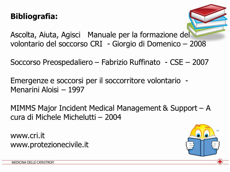Bibliografia: Ascolta, Aiuta, Agisci Manuale per la formazione del volontario del soccorso CRI - Giorgio di Domenico – 2008 Soccorso Preospedaliero –