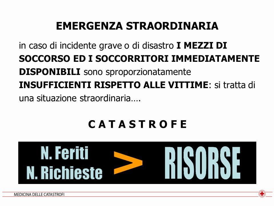 EMERGENZA STRAORDINARIA in caso di incidente grave o di disastro I MEZZI DI SOCCORSO ED I SOCCORRITORI IMMEDIATAMENTE DISPONIBILI sono sproporzionatam
