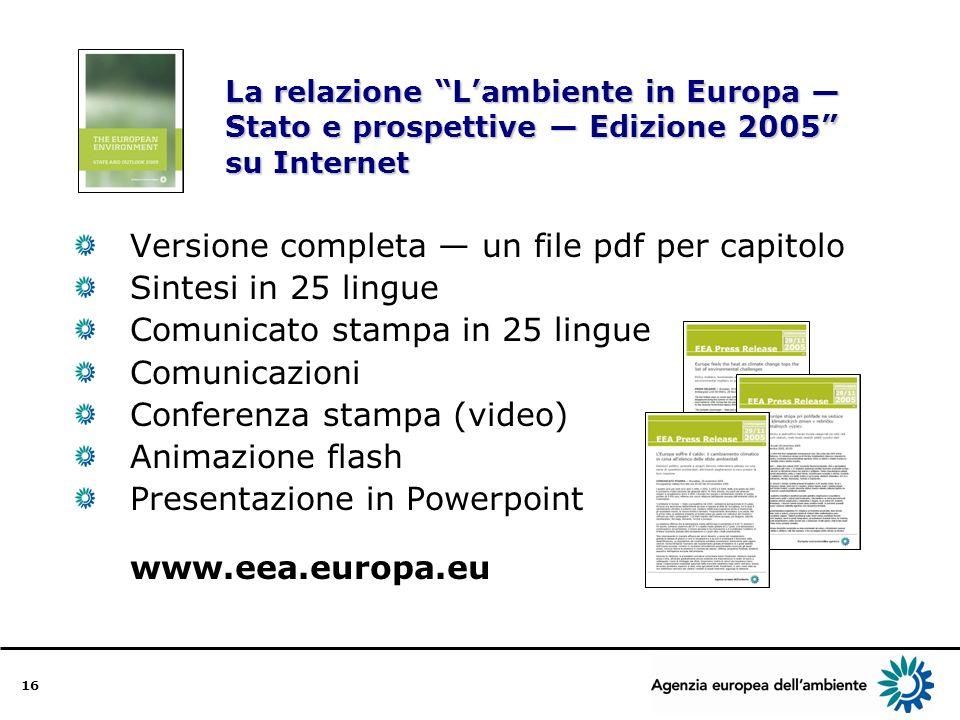 16 La relazione Lambiente in Europa Stato e prospettive Edizione 2005 su Internet Versione completa un file pdf per capitolo Sintesi in 25 lingue Comunicato stampa in 25 lingue Comunicazioni Conferenza stampa (video) Animazione flash Presentazione in Powerpoint www.eea.europa.eu