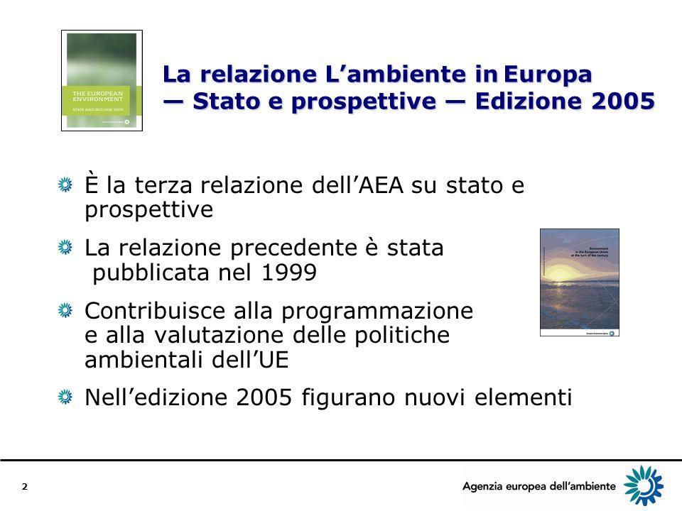 3 Struttura della relazione Ledizione 2005 contiene: Analisi integrata dellambiente in Europa Indicatori di base Analisi su base nazionale Bibliografia