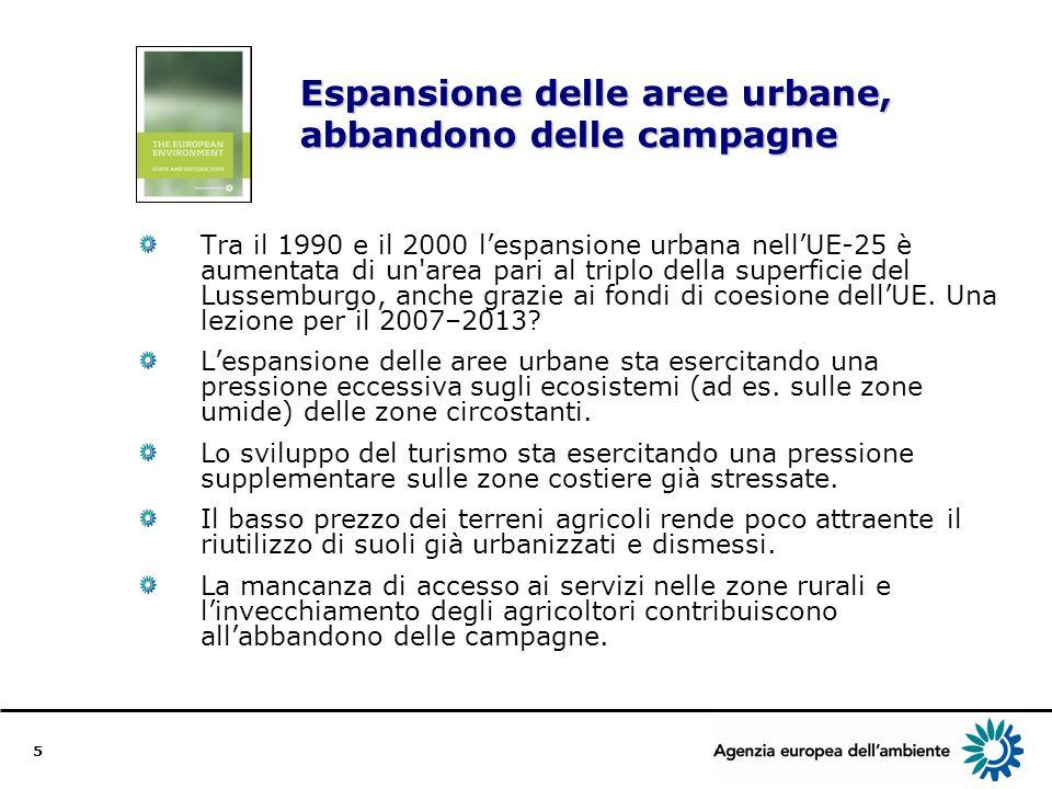 5 Espansione delle aree urbane, abbandono delle campagne Tra il 1990 e il 2000 lespansione urbana nellUE-25 è aumentata di un area pari al triplo della superficie del Lussemburgo, anche grazie ai fondi di coesione dellUE.